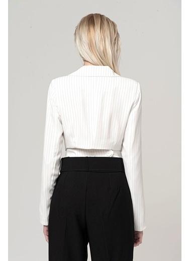 Coral Çizgili Ceket Beyaz Beyaz